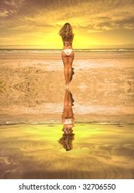 beautiful girl in the beach looking the sea