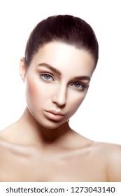 Beautiful girl beauty portrait. Clean skin. Portrait of beautiful young woman with clean face. Beautiful woman face close up studio headshot