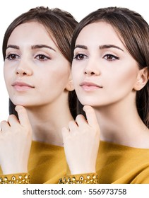 Beautiful girl before and after retouch