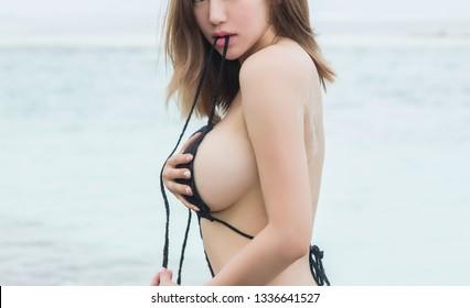 Beautiful girl with big breasts in underwear