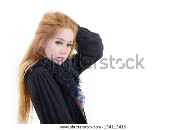 Beautiful girl in black coat on white background.