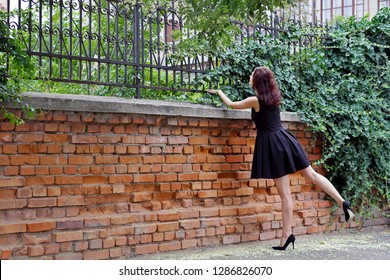 A beautiful girl in black dress peeks over a brick fence with a forged fence covered with green ivy