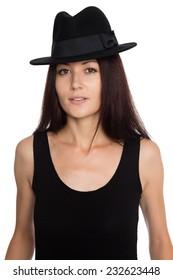 Beautiful girl in a black felt hat. Twenty-seven years old.