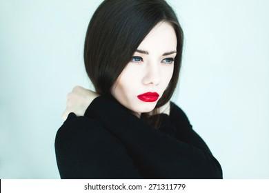 Blue hair girl black eyes with Black Hair
