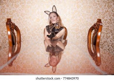 5e7b1200c9 beautiful girl in black lace rabbit mask