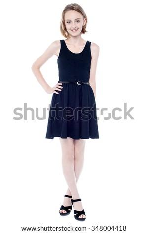 b5fa06ac655 Beautiful Girl Black Sleeveless Dress Stock Photo (Edit Now ...