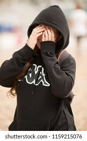 Beautiful Girl with black sweater Kappa on the beach in Brighton &Hove, Black Sweater Kappa,Brighton&Hove,August 1 2018