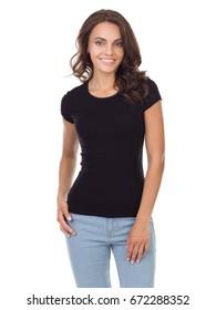 Beautiful girl in a black t-shirt
