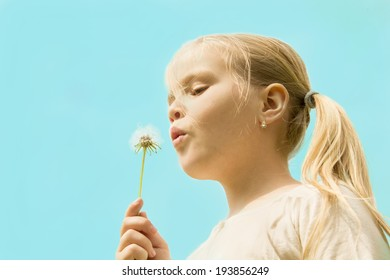 beautiful girl blowing on a dandelion on a background of blue sky