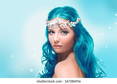 Beautiful girl with blue hair