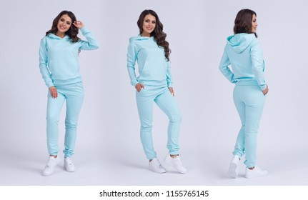 Beautiful girl in a blue sports suit with a hood. Front view, side view, rear view. Sweatshirt template