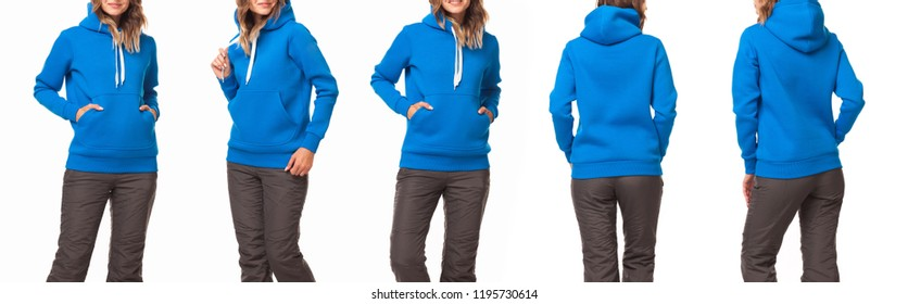 Beautiful girl in a blue sports suit with a hood. Set of front view, side view, rear view. Sweatshirt template