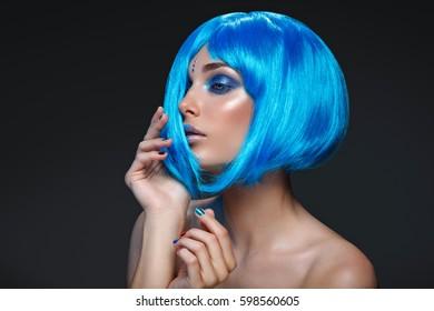 Beautiful girl in blue wig