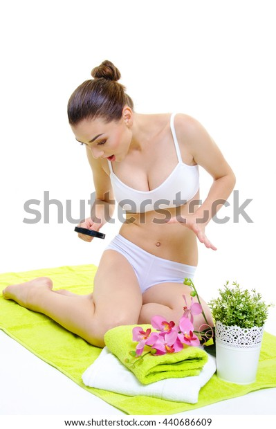 beautiful girl body skin care concept with magnifier
