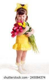 beautiful girl with a bouquet of tulips. Mother's Day, March 8, International Women's Day. isolated