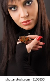 beautiful girl with butterfly