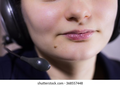 Beautiful girl in call center