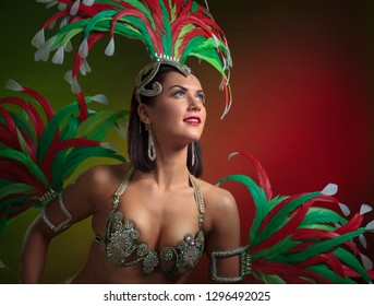 Beautiful girl in a carnival costume with rhinestones and natural feathers. Beautiful professional makeup, perfect hair. Attractive female cabaret dancer in sexy costume with red and green feathers.