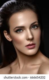 Beautiful girl with cat eye liner makeup