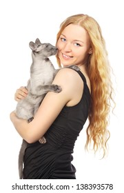 beautiful girl with cat, isolated on white