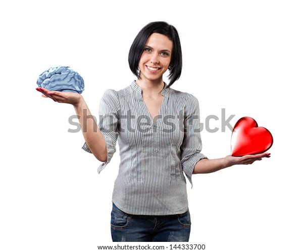 Beautiful girl chooses between brain and love