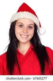 Beautiful girl with Christmas hat isolated on a over white background