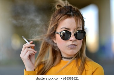 beautiful girl with cigarette