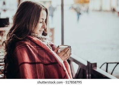 beautiful girl with coffee