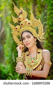 Beautiful girl with costume apsara from cambodia concept, Identity culture of Cambodia.
