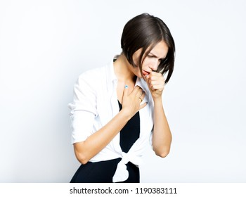 beautiful girl coughing, sick, short haircut, isolated over a white background