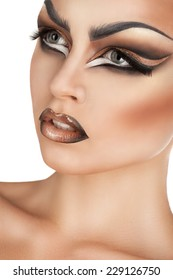 beautiful girl with creative make-up, beauty portrait