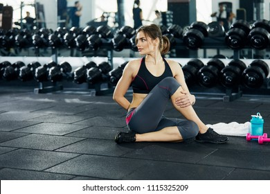 Beautiful girl with dark hair in pony tail, wearing gray leggings and black top doing sport in gym, stretching, portrait.