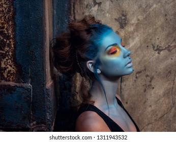 beautiful girl dark mystery portrait