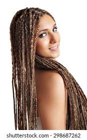 beautiful girl with dreadlocks hair