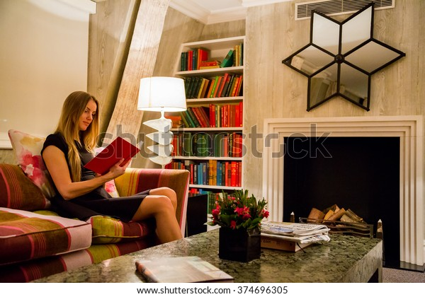 Beautiful Girl Dress Sitting Luxury Library Stock Photo (Edit Now