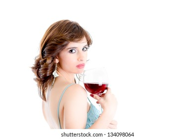 Beautiful girl drinking red wine isolated