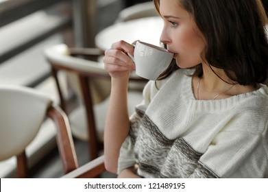 beautiful girl drinking tea, coffee