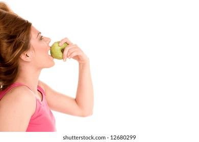 Beautiful girl eating apple.