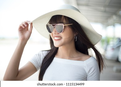 Beautiful girl enjoy and happy her lifestyle in holiday