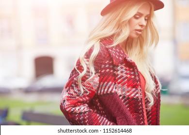 beautiful girl enjoying the sunny autumn day