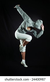 beautiful girl executes modern dance