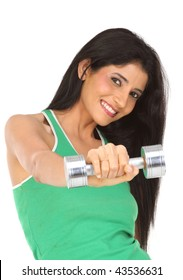 beautiful girl  exercising with dumbbell