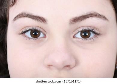 Beautiful girl face close up beautiful eye, eyebrow and nose