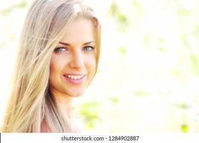 Beautiful girl face - close up portrait