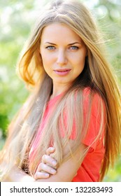 Beautiful girl face portrait close up