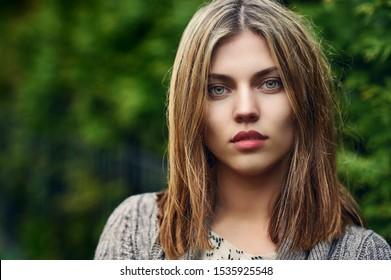 Beautiful girl face portrait - outdoor