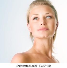 Beautiful Girl face.Perfect skin concept