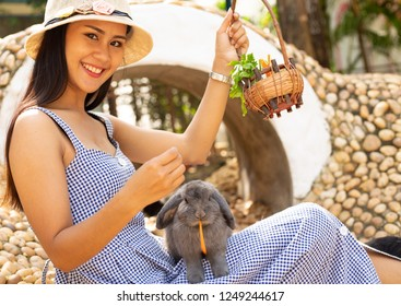 Beautiful girl feeding rabbit