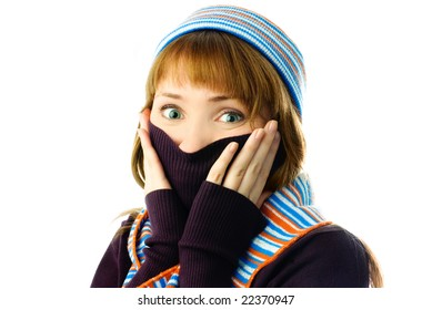 beautiful girl feels cold isolated against white background