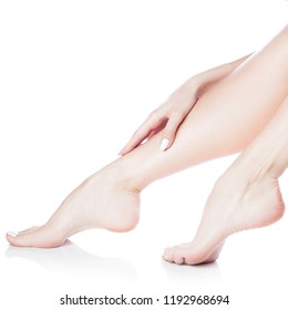 Beautiful girl feet close-up with perfect smooth skin. Body care and female health treatment concept